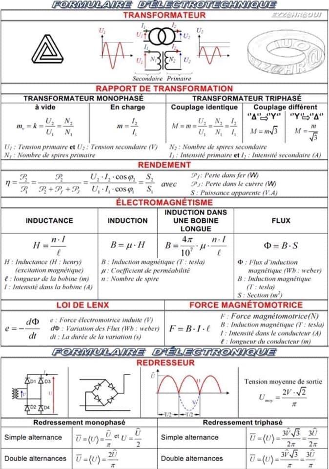 Les formulaires D'Electrotechnique interessant