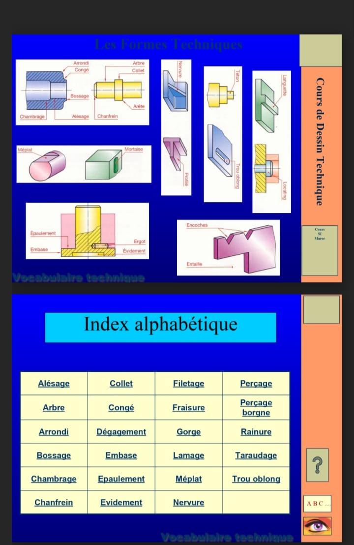 Vocabulaire technique, dessin technique, Construction mécanique