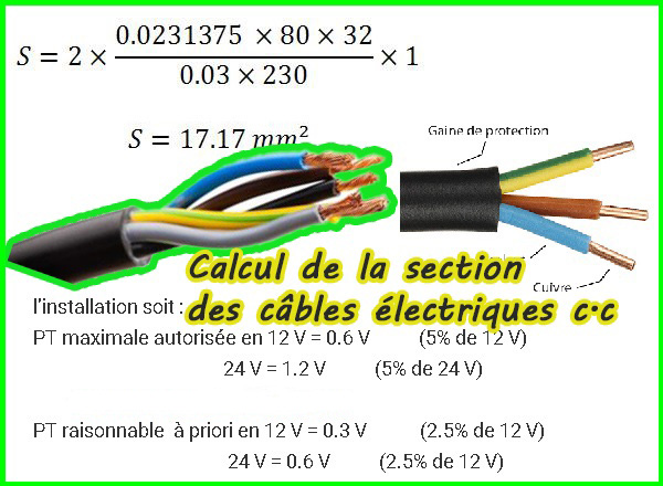 Calcul de la section des câbles électriques