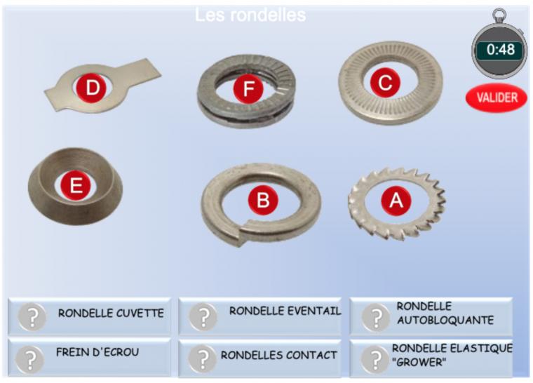 Les rondelles. Exercice de vocabulaire technique